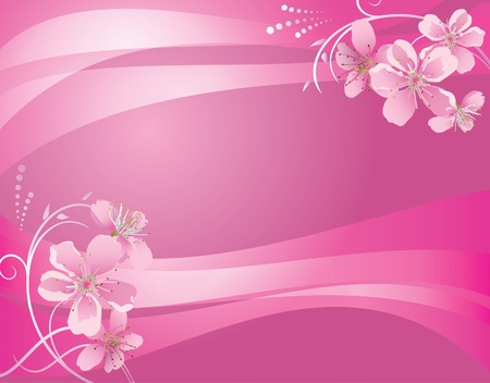 peachy: abstract pink background with flower - eps 10 Illustration