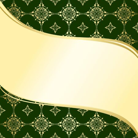 abstract wavy green and gold background  with tracery - vector Vector
