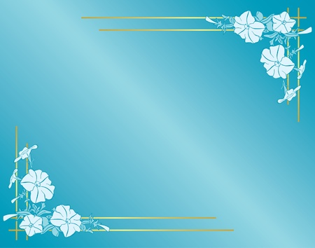 petunia: light blue card with flowers and gradient Illustration