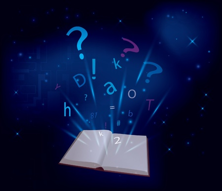 magic book on dark blue background Vector