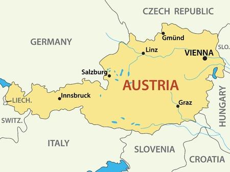 オーストリア - ベクトル イラスト マップ