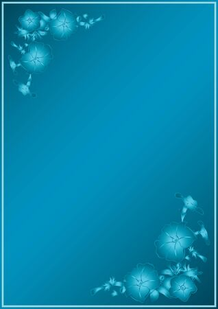 vector blue card with gradient in blue flowers  Vector