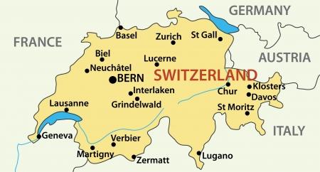 図 - スイス連邦共和国の地図  イラスト・ベクター素材