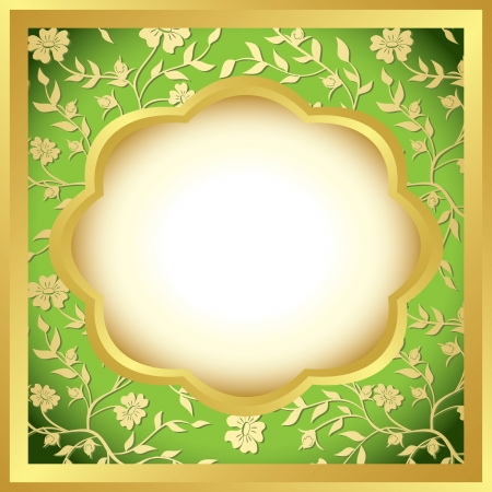 green and golden decorative frame  Vector
