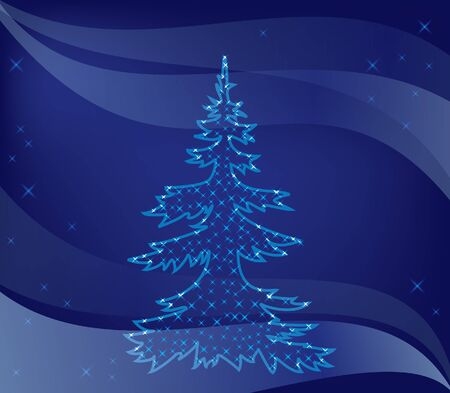 illustration - christmas tree on blue background Stock Vector - 11103829