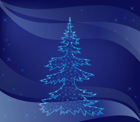illustration - christmas tree on blue background Stock Vector - 11103829