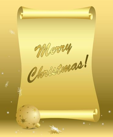 vector golden card - merry christmas - eps 10 Stock Vector - 11161613