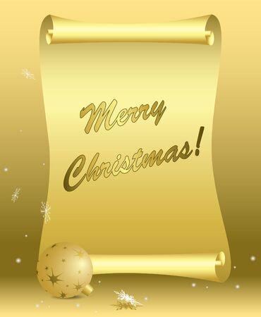 vector golden card - merry christmas - eps 10 Stock Vector - 11161613
