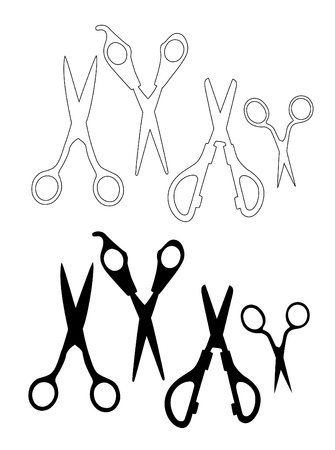 shear: set of vector black scissors          Illustration