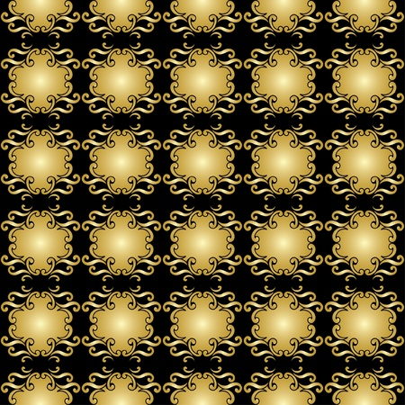vector black seamless pattern with golden elements Vector