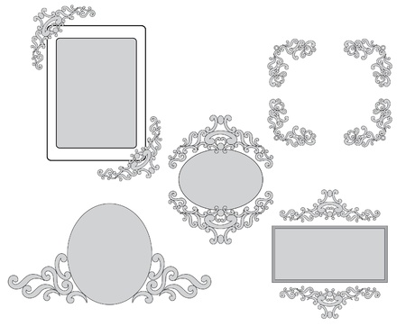 set - vector tracery and frames for design Vector