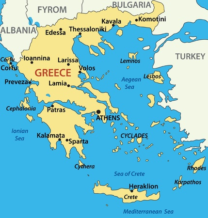 aegean: map of Greece - vector illustration