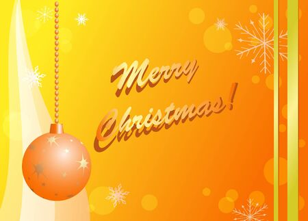 yellow and orange christmas card  - vector Vector