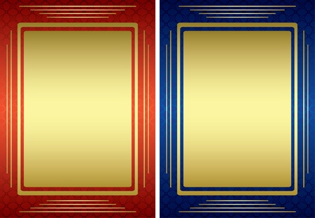 vector red and blue frames with golden decoration Vector