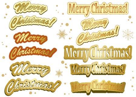 set of golden vector christmas stickers Illustration