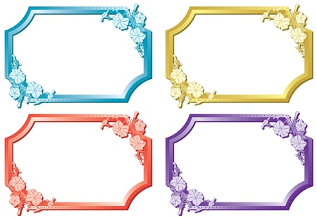 marcos decorados: conjunto de marcos de color florales Vectores