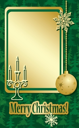 golden and green christmas frame  with decorations Vector
