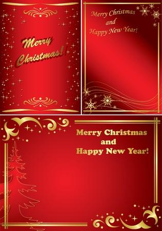 黄金と赤のクリスマス フレームのセット  イラスト・ベクター素材