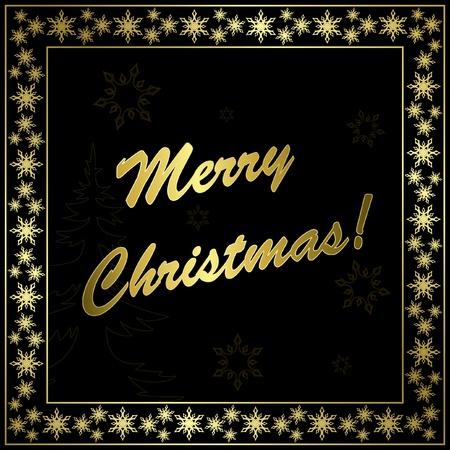 quadratic: cuadrado negro tarjeta de Navidad con marco de oro y decoraci�n