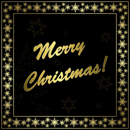 square black christmas card with gold frame and decor  Vector