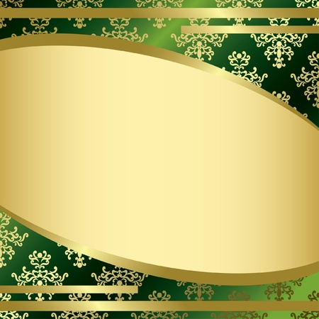 vector green vintage background with gold decorations Vector