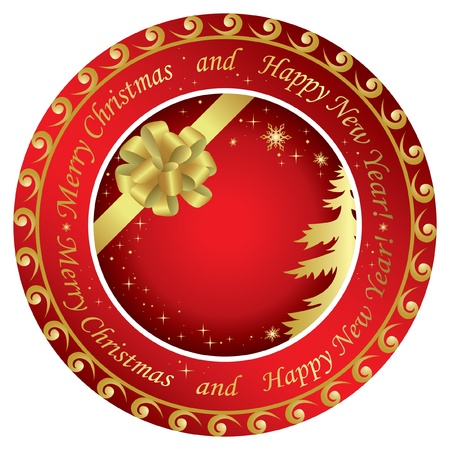 vector golden and red christmas round cards  with decorations Иллюстрация