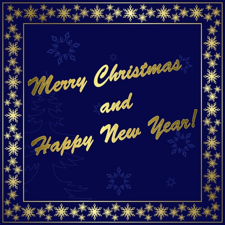 dark blue vector christmas card with gold decor and frame Vector