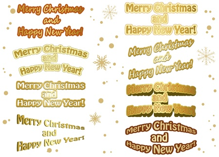 year curve: set of golden vector christmas stickers - merry christmas and happy new year