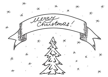 vector card -  merry christmas -  hand drawing Vector
