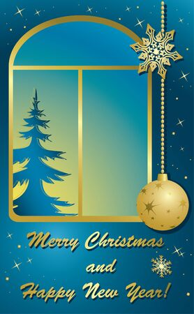 vector christmas card with window and gold decorations Stock Vector - 11478943