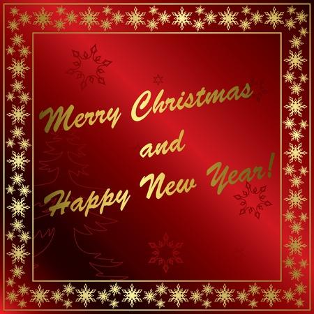 quadratic: rojo vector tarjeta de Navidad con adornos de oro Vectores
