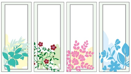 four season: set of vector light banners with flora Illustration