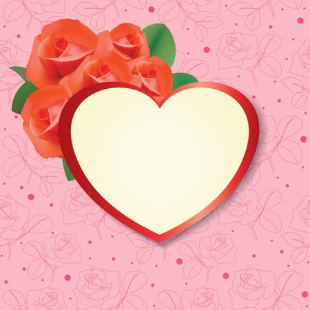 heart with roses on pink background - vector card Vector