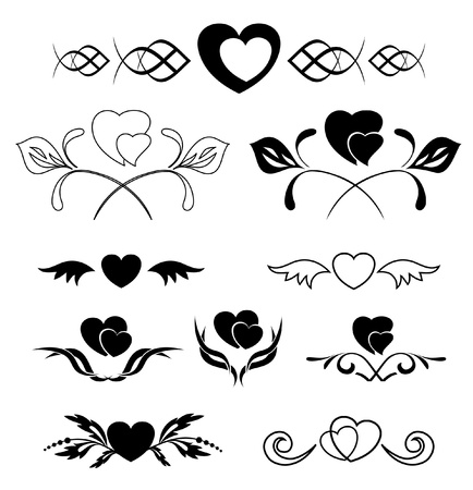 tracery: set of vector elements - heart and flora