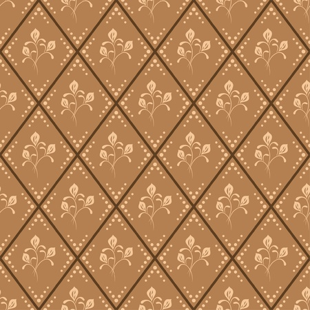 rhombus: seamless  brown floral pattern - vector
