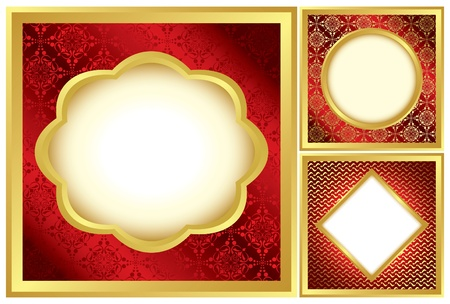 vector - set of red and golden decorative frames Vector