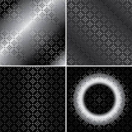 argent: monochrome metallic patterns - vector set