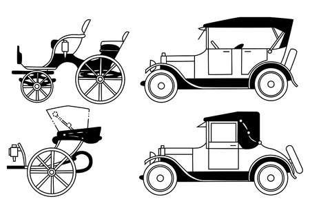 chaise: set of the old isolated cars - vector