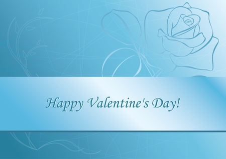 light blue vector card with rose - for valentines day Vector