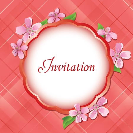 pink floral invitational card with frame in the center - vector Vector