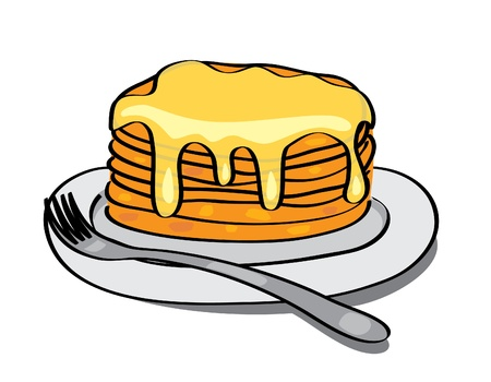 sweet pancakes with honey on the plate - vector Vector