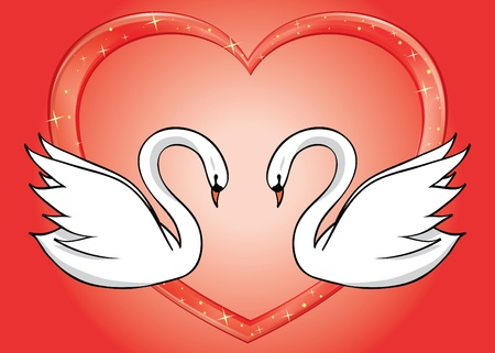 white swans and red heart - vector card