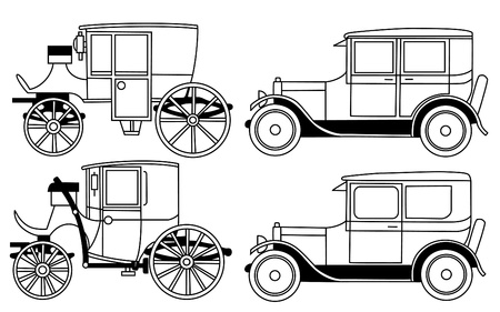 invention: set of the retro cars - vector Illustration