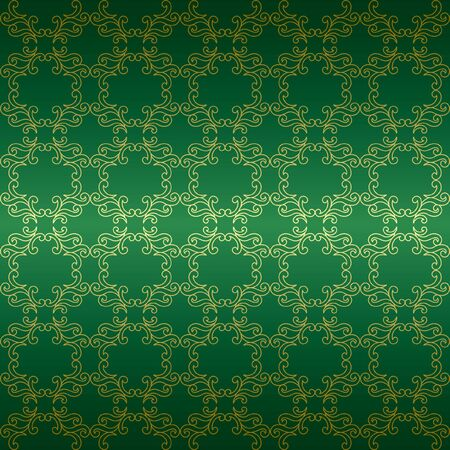 green background with golden tracery - vector Vector