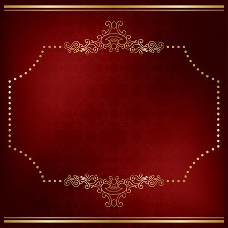 dark red vector card with gold decor - eps 10 Vector