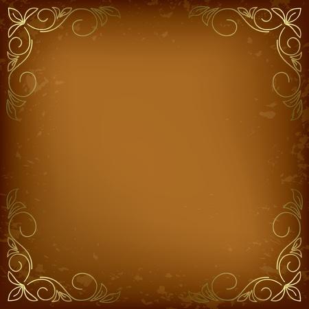 dark beige card with golden decor in the corners. Иллюстрация