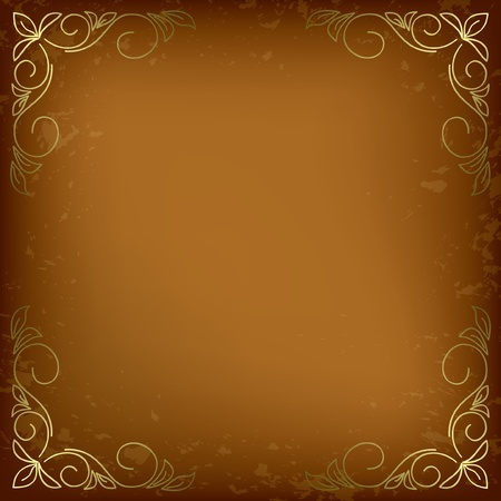 dark beige card with golden decor in the corners. Vector