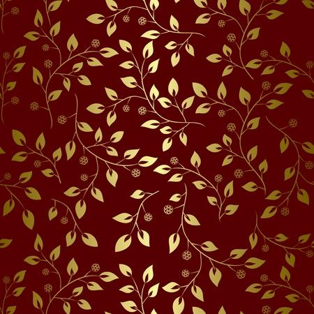 黄金の葉 - シームレスなベクターで茶色の背景