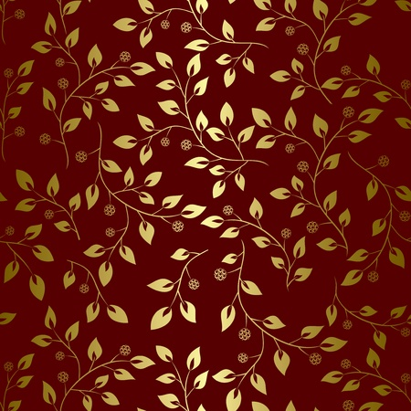 brown background with golden leaves - seamless vector