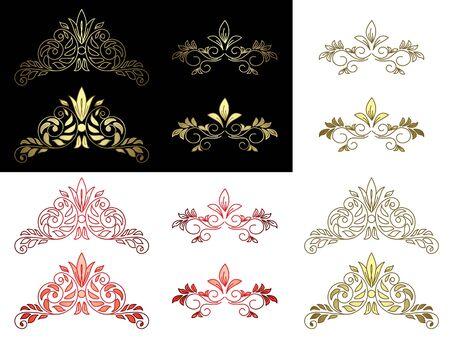 separator: set of floral golden and red design elements - vector Illustration